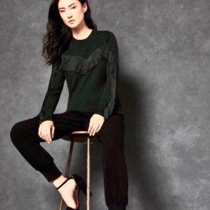 Ted Baker Aniebal Green Sweater w/ Black Fringe